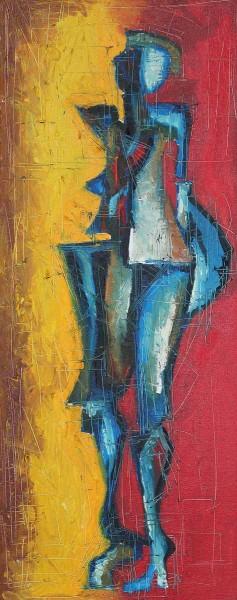 Desert Blues, 60x23, Oil on Canvas