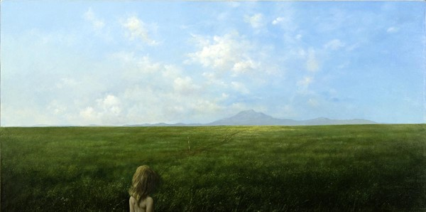 Il Silenzio del Campo (Fuga dalla Montagna Incantata), 45x90, Oil on Canvas