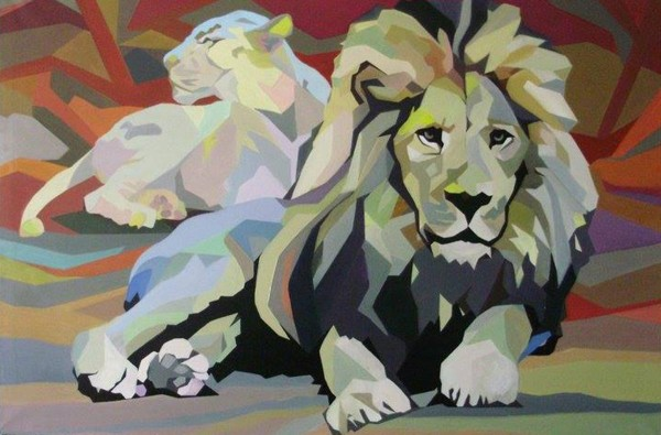 Lion and Lioness, 120x180, Oil on Canvas