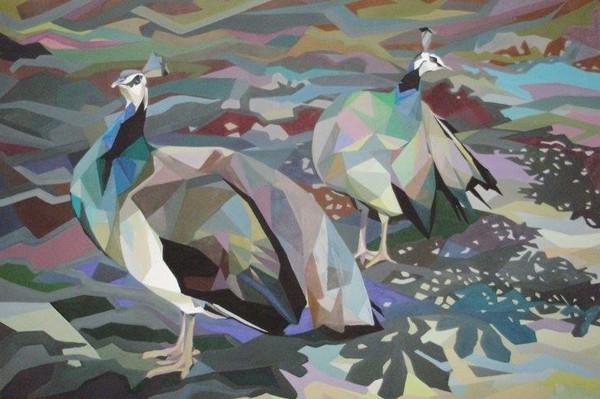 Peacocks, 120x180, Mixed Media on Canvas