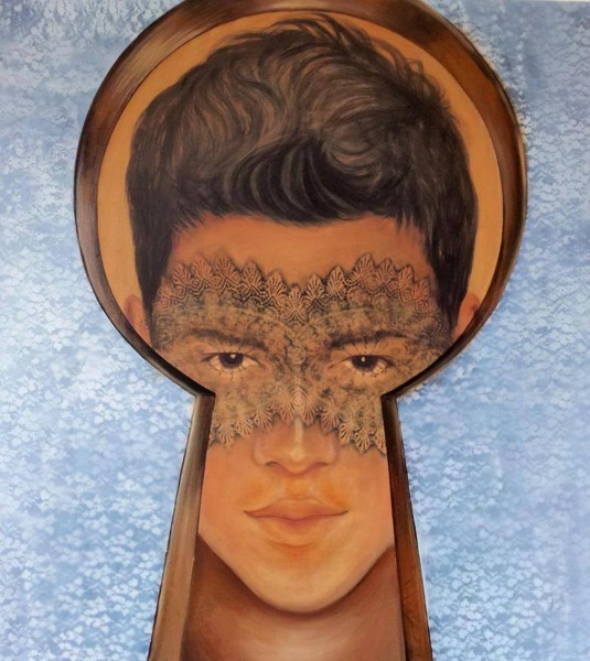 Self-Portrait, 100x80, Mixed Media on Canvas