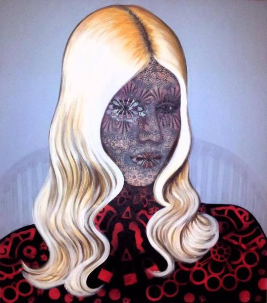 Tattoo Mask, 100x80, Mixed Media on Canvas