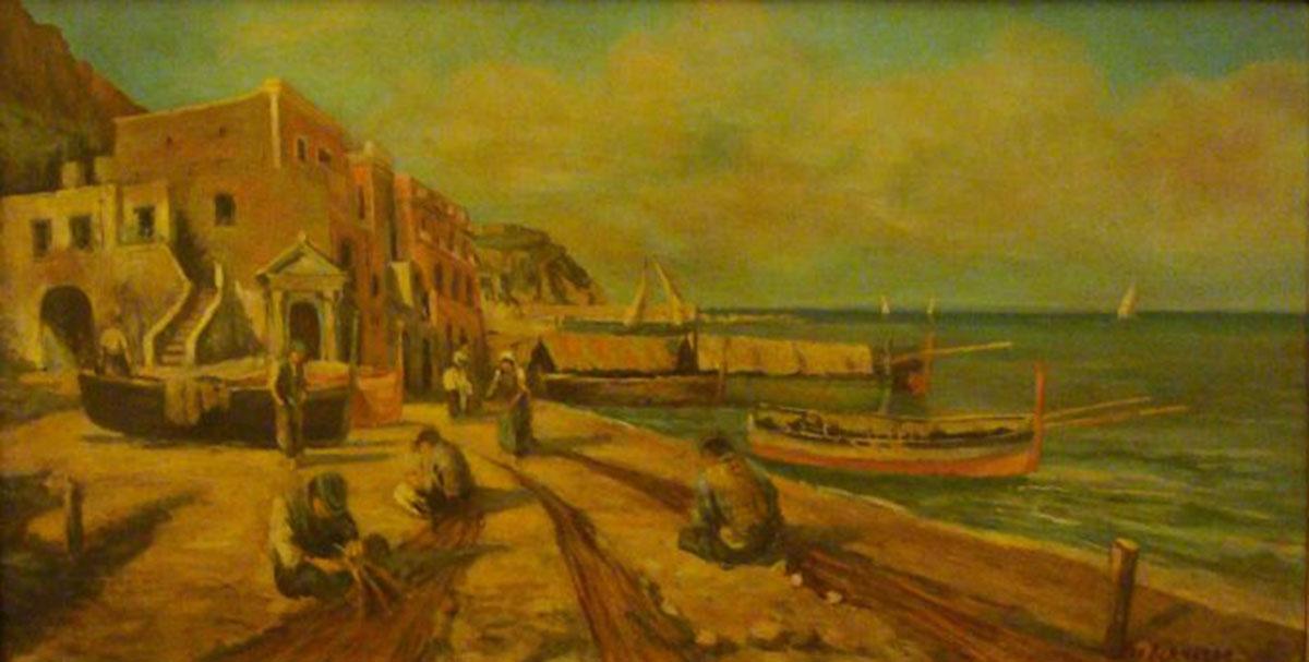Capri Marina Grande, 22x42, Oil on Canvas