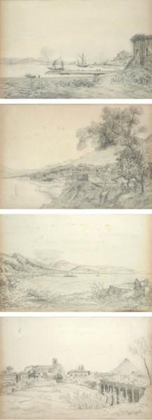 Quattro Vedute Napoletane, 37x52, Pencil on Paper