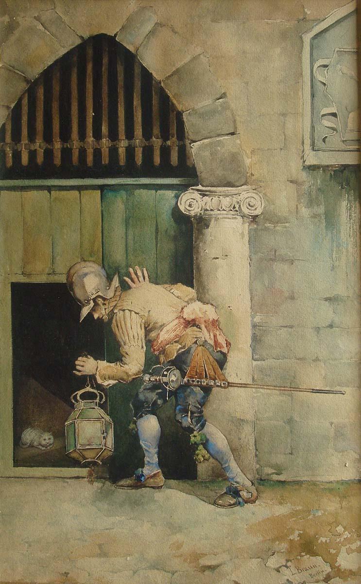 Soldato e Gatto, 46x30, Watercolour on Paper