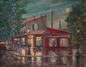 Cafe de la Closerie - Paris, 30x40, Oil on Cardboard