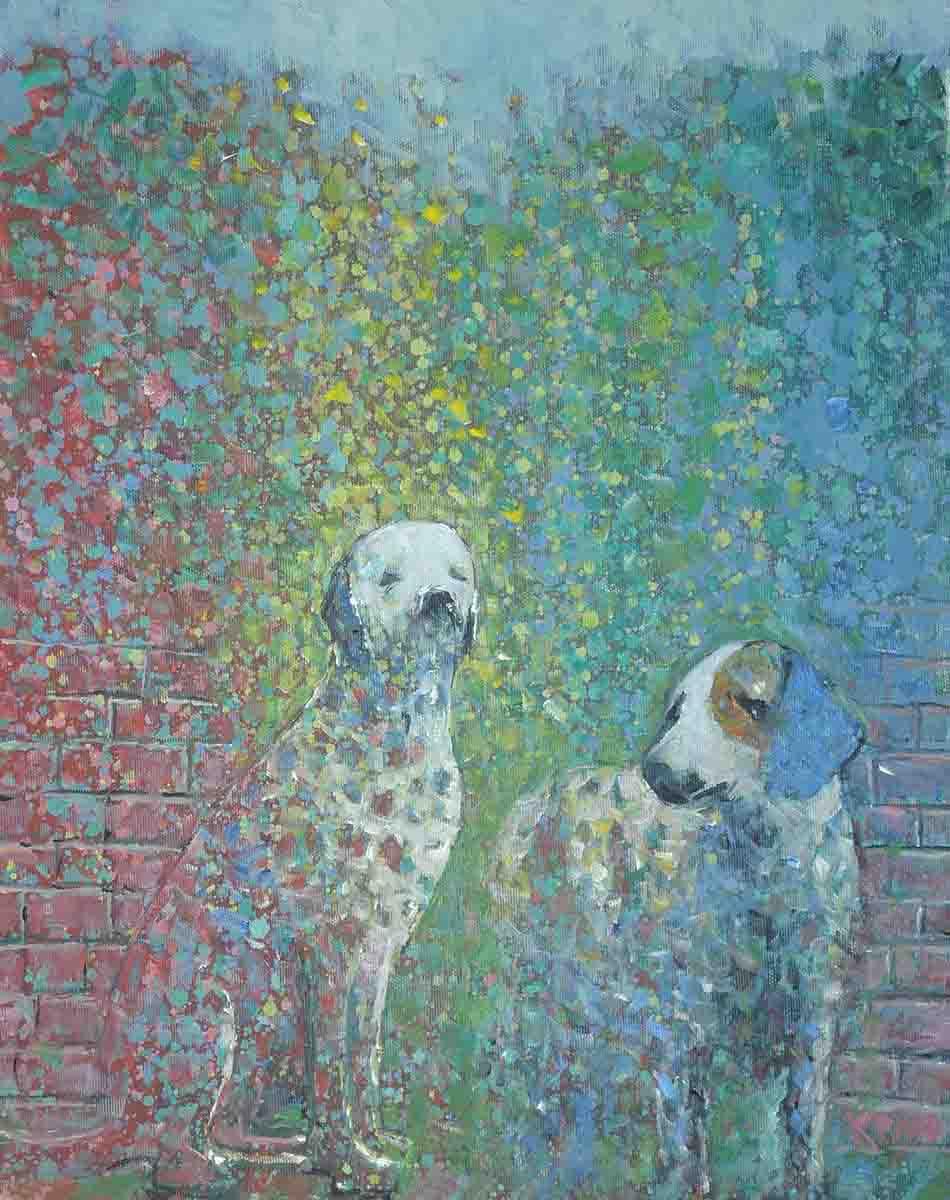 Garden Dogs, 50x40, Oil on Canvas