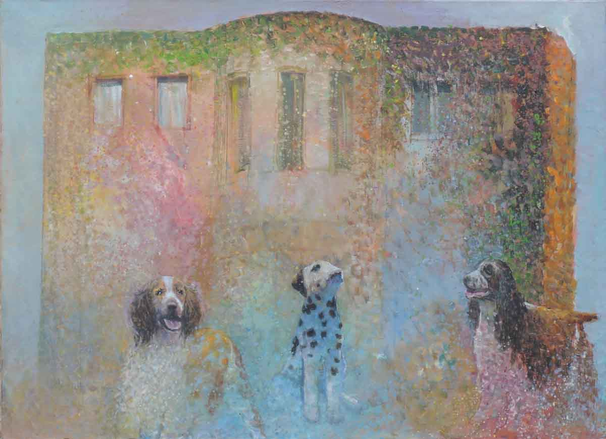 Mansion Dogs, 80x110, Oil on Canvas