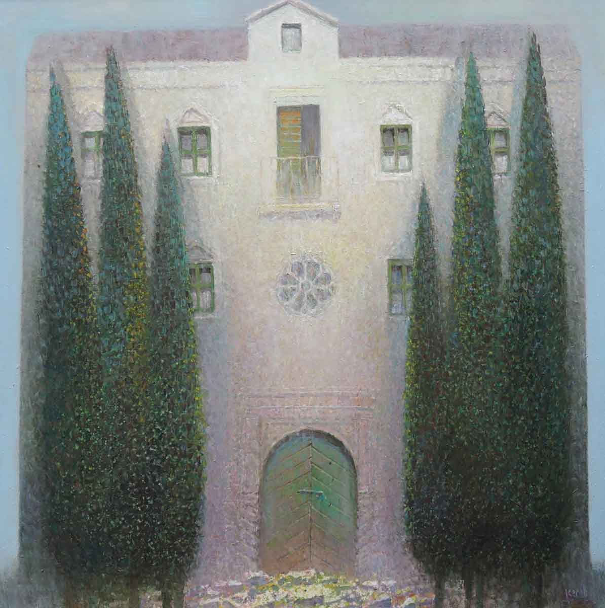 Mediterranean House and Cypresses, 130x130, Oil on Canvas