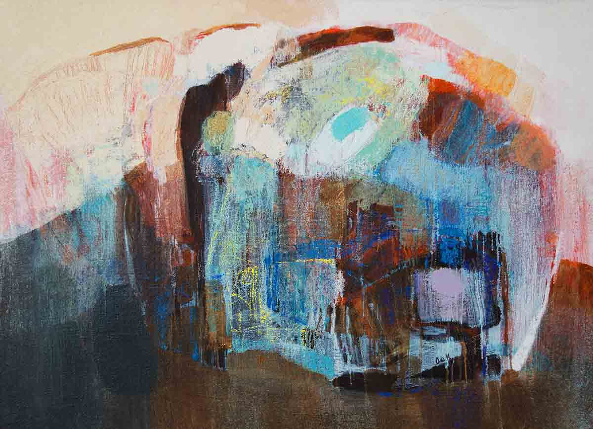 Blue Accent Metaphysics, 80x110, Oil on Canvas.