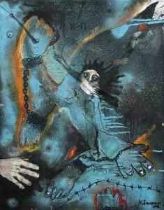 Strugglin, 70x55, Oil & Mixed Media on Canvas