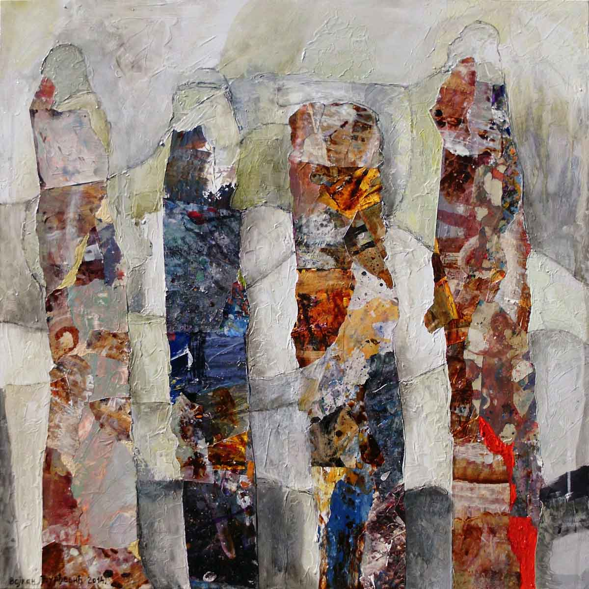 Fence Peacefully Bloom, 70x70, Collage & Mixed Media on Canvas