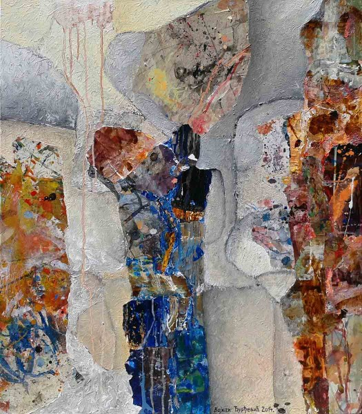 On the Street, 80x70, Collage & Mixed Media on Canvas,