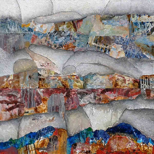 The Landscapes Between Us, 70x70, Collage & Mixed Media on Canvas