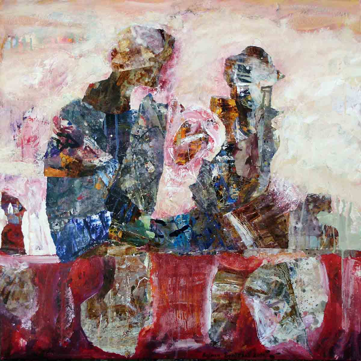 We Have Laid Our Prayers, 70x70, Collage & Mixed Media on Canvas