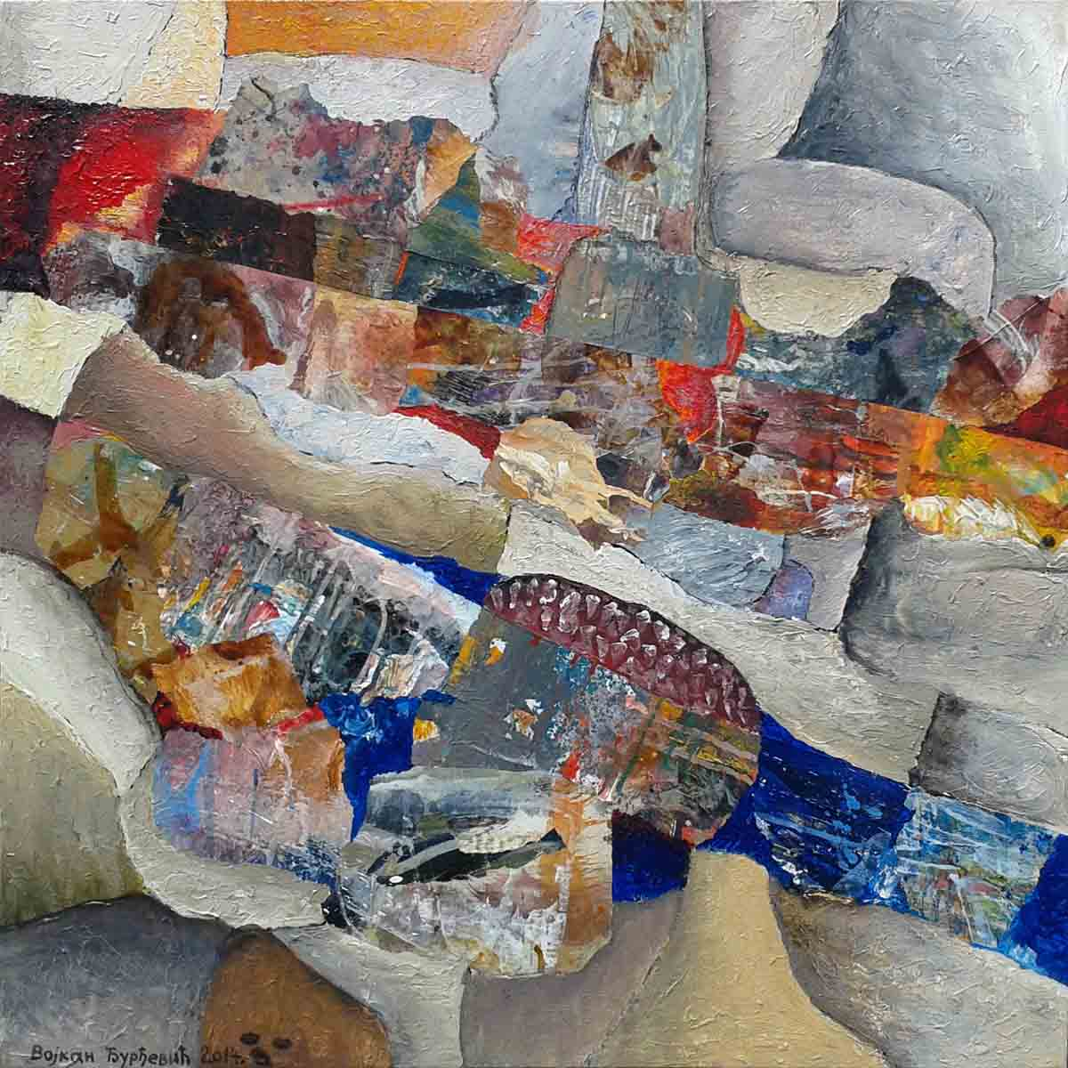 When the River Waive its Course Flow, 70x70, Collage & Mixed Media on Canvas