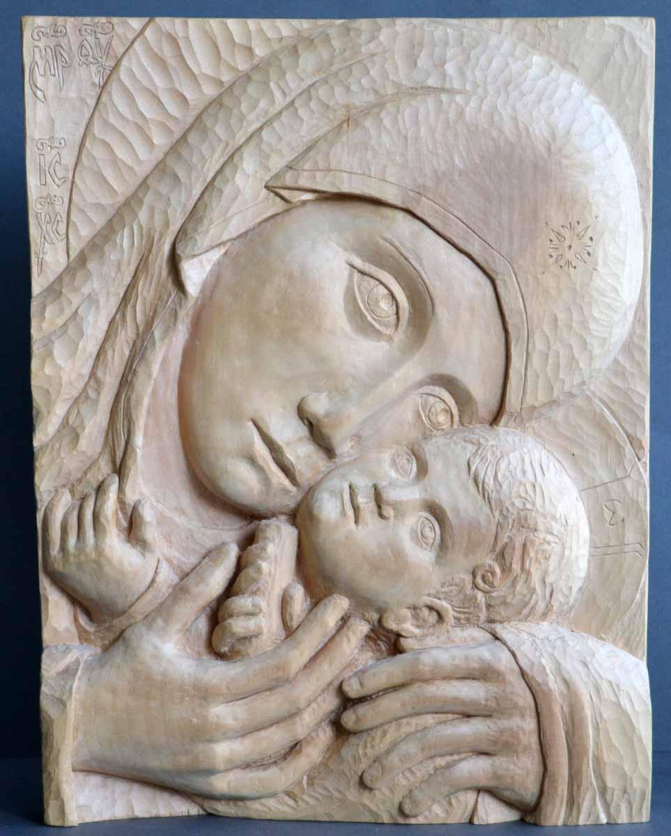 Holy Mother of Korsun, 44x33x5, Woodcarving