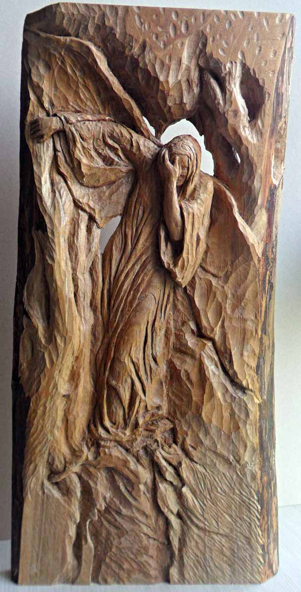 Quo Vadis, 61x31x4, Woodcarving
