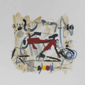 Bicycle 2, 40x40, Ink & Collage on Paper