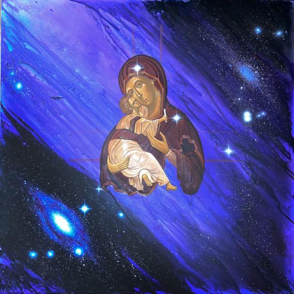 Cosmic Virgin, 80x80, Acrylic on Canvas