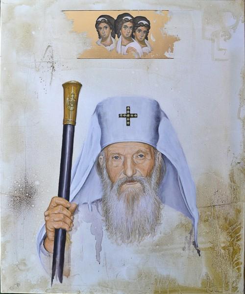 Patriarch Paul and Holy Trinity, 60x50, Acrylic on Canvas