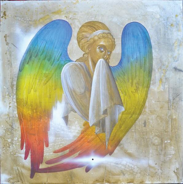 Rainbow Wing Angel (Hesychasm), 80x80, Acrylic on Canvas