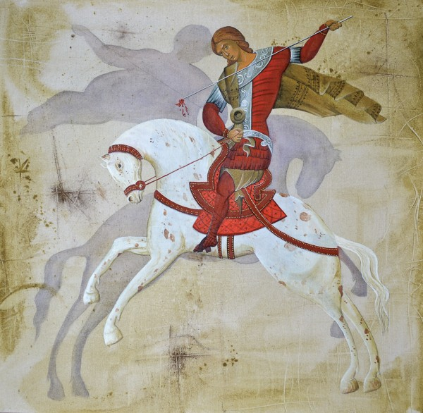 St George Killing His Own Shadow, 80x80, Acrylic on Canvas