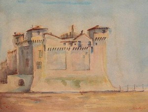 Castello di Santa Severa, 26x34, Watercolour on Paper