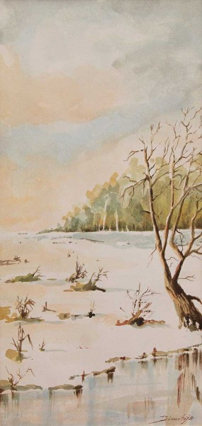 Inverno, 34x16, Watercolour on Paper