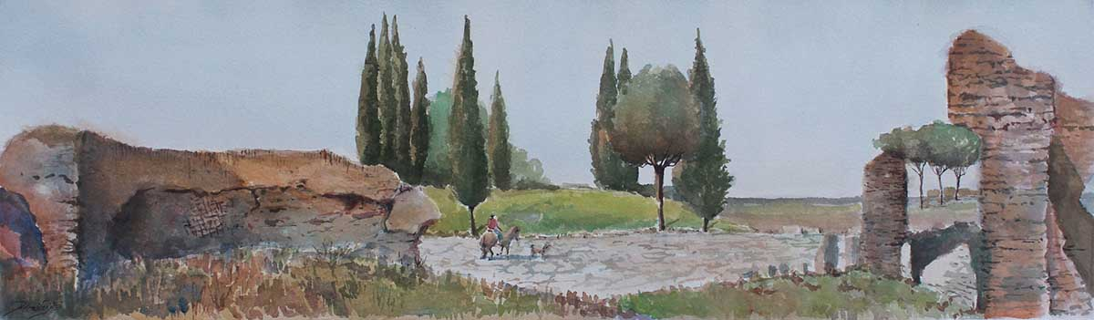 Via Appia - Rome, 16x50, Watercolour on Paper