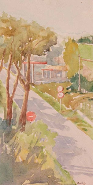 Via Aurelia - Rome, 33x17, Watercolour on Paper