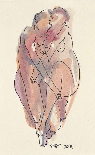 Couple 2, 16x10, Watercolour on Paper