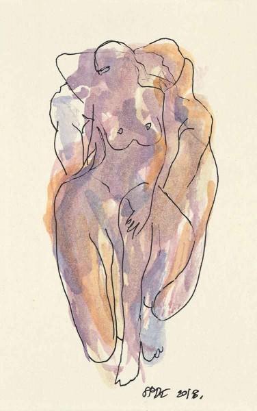 Couple 3, 16x10, Watercolour on Paper
