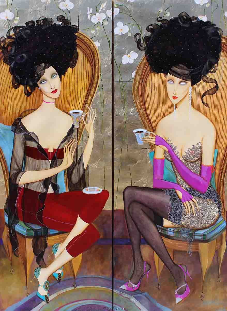 Orchid Lounge (Diptych), 150x110, Oli on Canvas & 24k Gold Plated